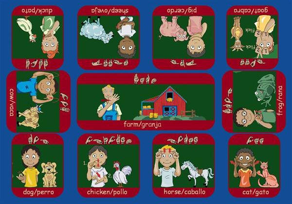 Signs On The Farm 169 Bi Lingual American Sign Language Rug