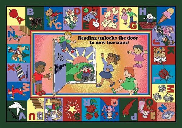 Children Never Seem To Tire Of Nursery Rhymes And This Design Brings The Alphabet Into Play A Master Rhyme Book Is Included With Each Rug